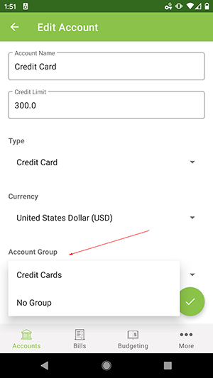 ClearCheckbook Android App - Selecting Account Group from Account Edit form