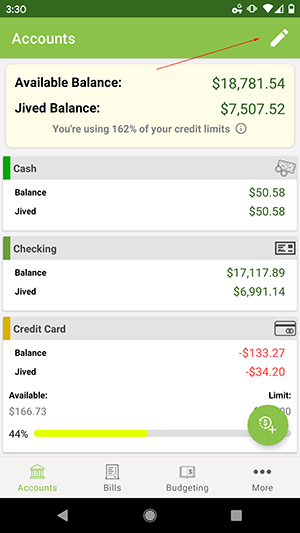 ClearCheckbook Android App - Managing Account Groups