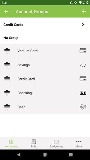 ClearCheckbook Android App - Account Groups