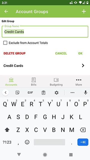 ClearCheckbook Android App - Edit an Account Group