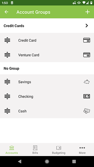 ClearCheckbook Android App - Group containing accounts