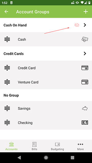 ClearCheckbook Android App - Group excluded from balances icon
