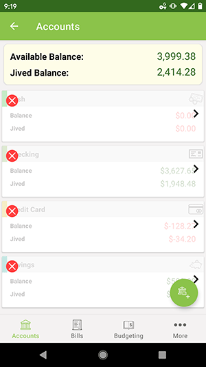 ClearCheckbook Android App - Managing Accounts