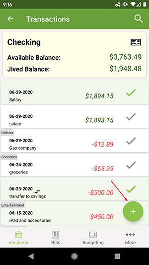 ClearCheckbook Android App - Add Transaction Button