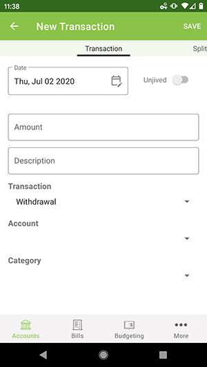 Android App - Add Transaction form