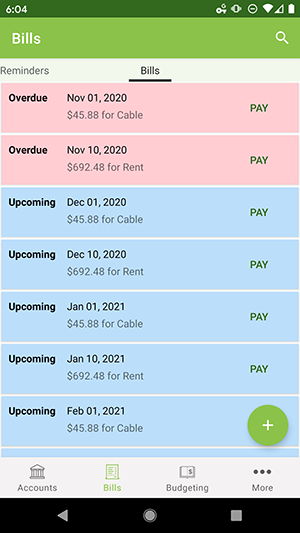 ClearCheckbook Android App - Bill Tracker list