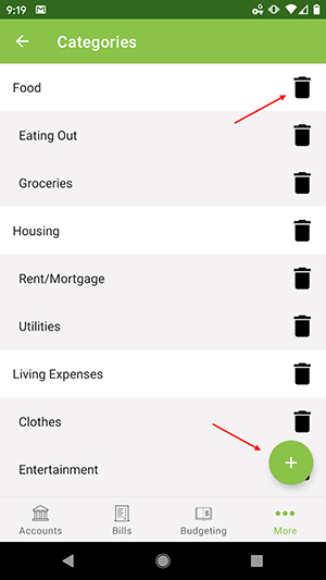 ClearCheckbook Android App - Managing Categories