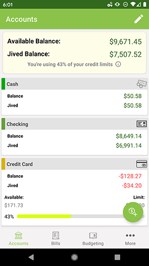 ClearCheckbook Android App - Account Overviews with credit limit