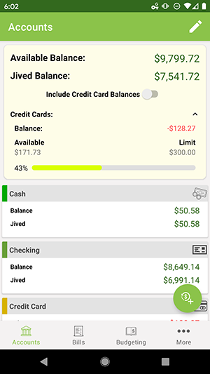 ClearCheckbook Android App - Account Overviews - balances excluding credit cards