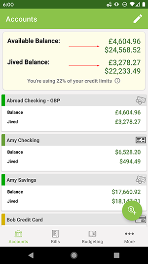 ClearCheckbook Android App - Account Overviews - Multiple Currencies