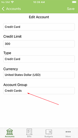 ClearCheckbook iOS App - Selecting Account Group from Account Edit form