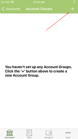 ClearCheckbook iOS App - Add an Account Group