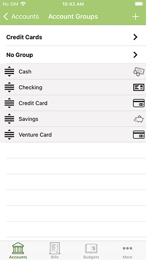 ClearCheckbook iOS App - Account Groups