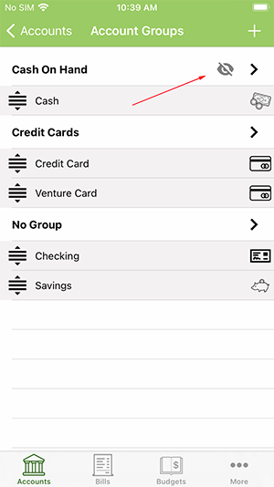 ClearCheckbook iOS App - Group excluded from balances icon