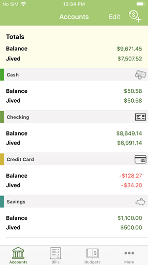 ClearCheckbook iOS App - Managing Accounts