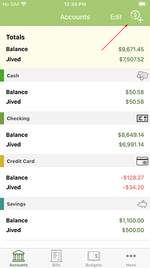 ClearCheckbook iOS App - Add Transaction Button