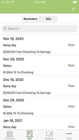 ClearCheckbook iOS App - Reminders and Recurring Transactions List