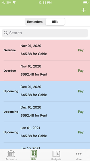 ClearCheckbook iOS App - Bill Tracker list