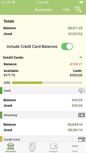 ClearCheckbook iOS App - Account Overviews with credit limit expanded