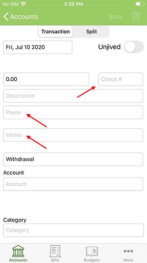 ClearCheckbook iOS App - Premium Features - Custom Transaction Fields