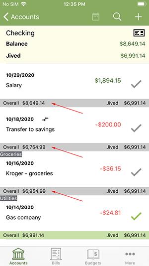 ClearCheckbook iOS App - Premium Features - Running Balances
