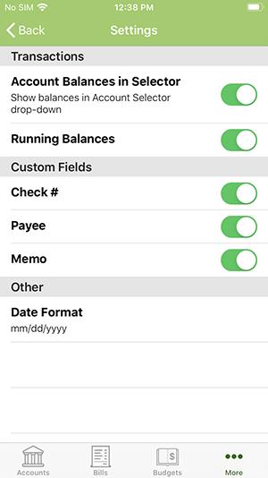 ClearCheckbook iOS App - Settings Menu