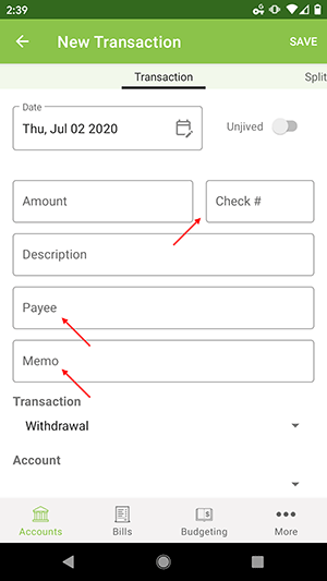 ClearCheckbook Android App - Premium Features - Custom Transaction Fields
