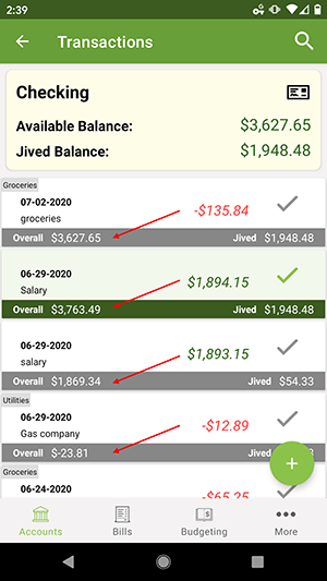 ClearCheckbook Android App - Premium Features - Running Balances