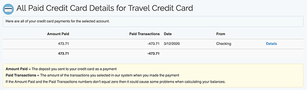 Credit Card Payment tool - All payments for card