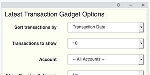 Account Dashboard - Gadget Settings