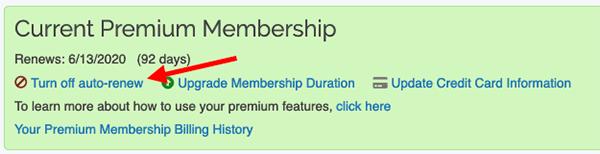 Premium Membership - Disabling Auto-renew