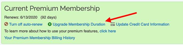 Premium Membership - Change membership duration