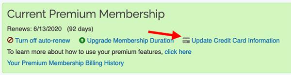 Premium Membership - Update billing information