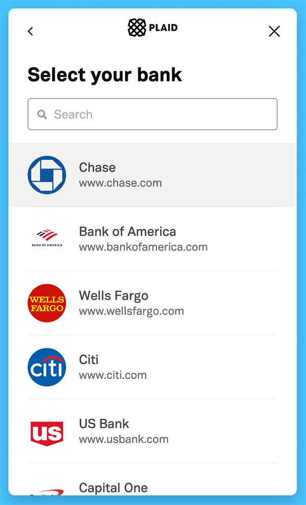 Syncing Transactions - Select a financial institution