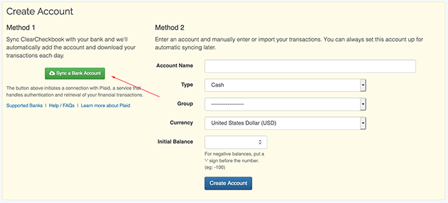Syncing Transactions - Connecting a new account