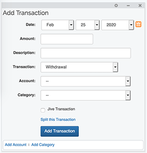 Account Dashboard - Add Transaction Gadget