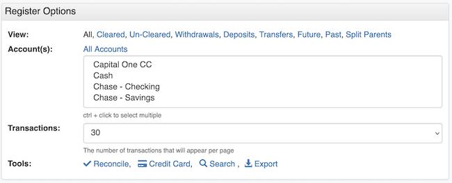 Transaction Register - Account Option Premium