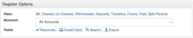 Transaction Register - Account Option Default
