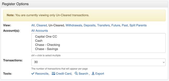 Transaction Register - View Option Alert