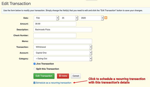 Schedule a Transaction