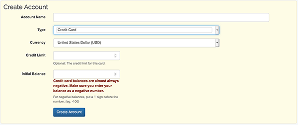 Account Settings - Create Account form w/ Credit Card chosen
