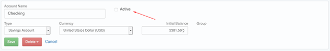 Account Settings - Uncheck to make account inactive