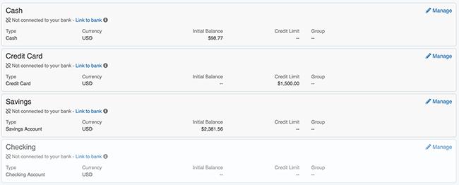 Account Settings - Account List w/ Inactive Account