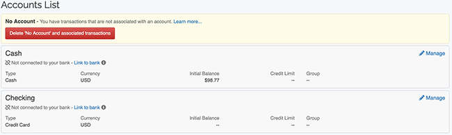 Account Settings - Delete No Account Transactions