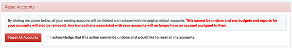 Account Settings - Reset Accounts to Defaults