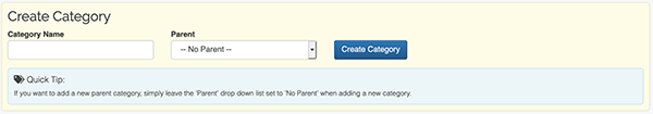 Category Settings - Create Category form