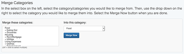 Category Settings - Merge Categories example