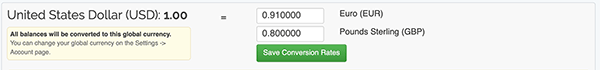 Currency Conversion Settings - Manage Conversions form