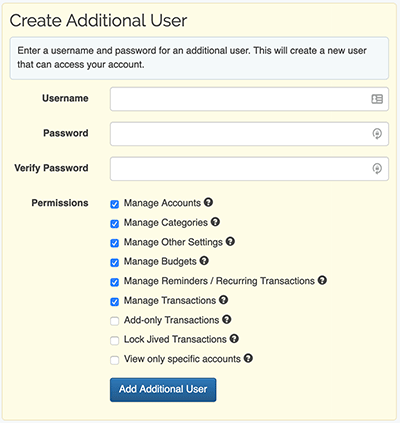 Additional Users - Create an Additional User