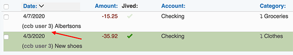 Additional Users - Additional Username attached to transactions they add